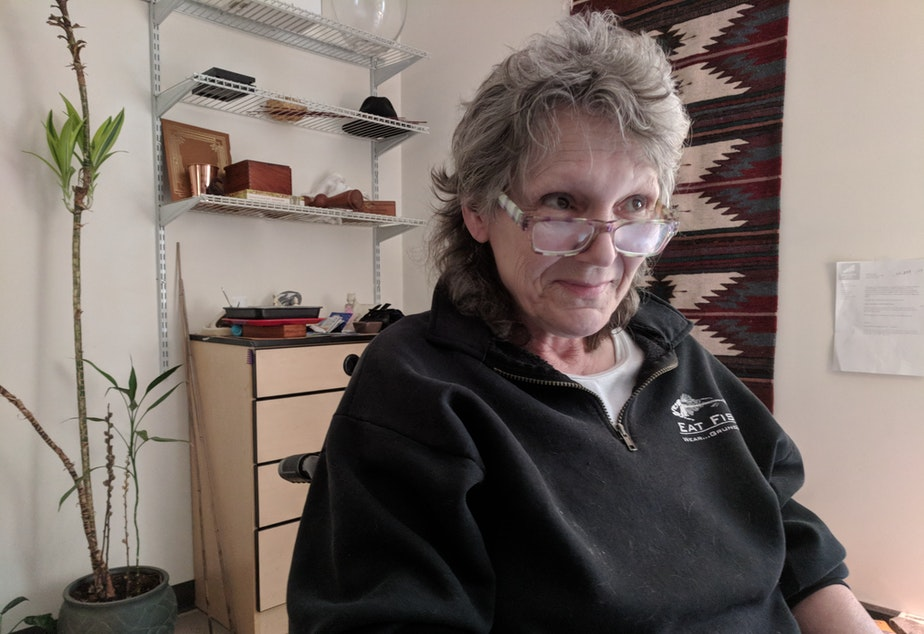 caption: Colleen Lytle has lived in permanent supportive housing for years. Before that she says she was homeless for most of her life.