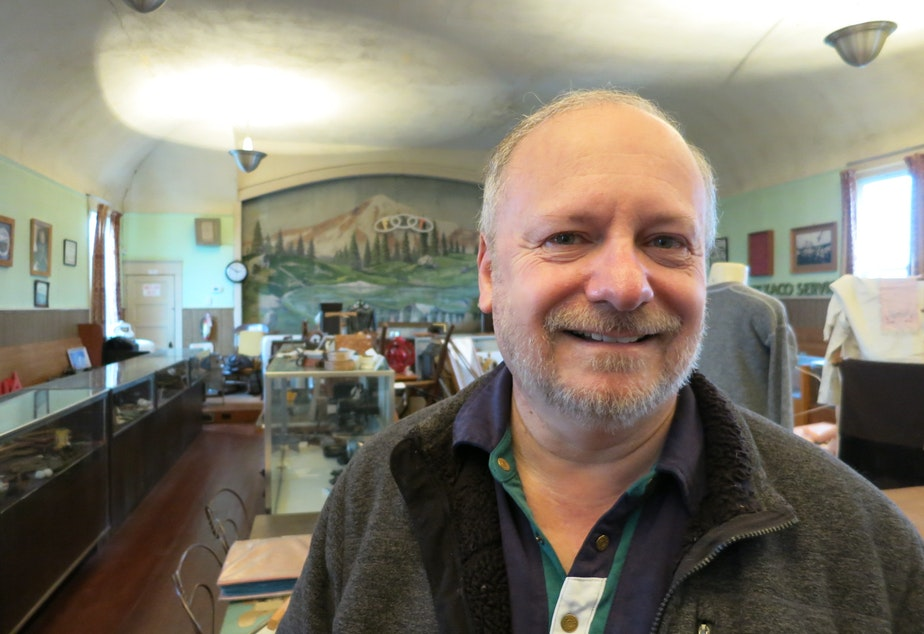 Richard Kennedy edited a book of Des Moines-area history. He poses inside the Des Moines Historical Society's museum.