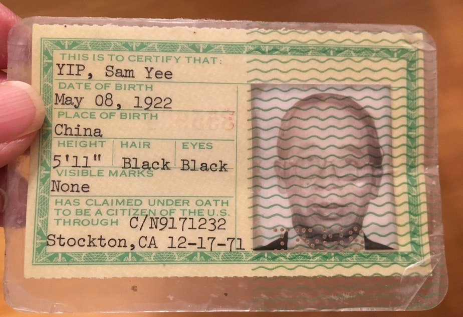 caption: The author's maternal grandfather's green card. His birthday is listed as two years before he was actually born.
