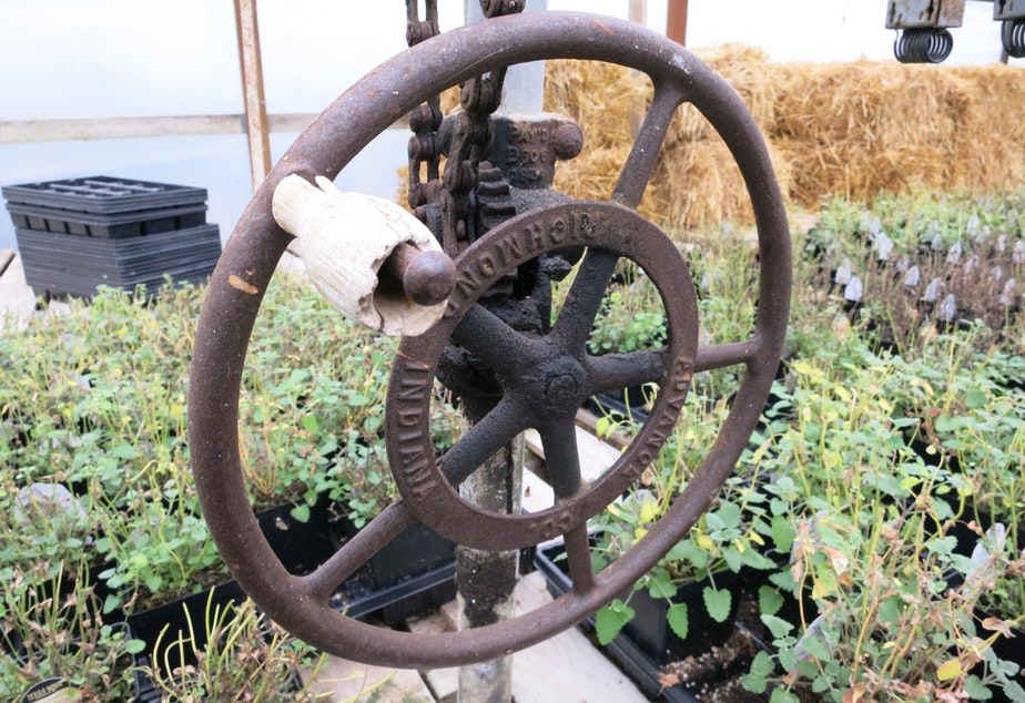 caption: A crank at the Zenith Holland Gardens in Des Moines was used at one time to vent the greenhouses.
